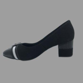 Sapato Salto Medio Nobuck C/ Det. de Fivela e Verniz No Bico Via Scarpa